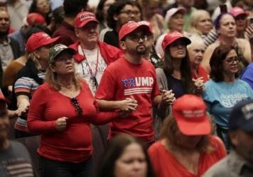 Supporters of President Donald Trump pray during a rally for evangelical supporters at the King Jesus International Ministry church, Friday, Jan. 3, 2020, in Miami.