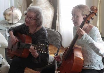 Singer and instrumentalist Flory Jagoda (left) performing with viola da gamba player Heather Spence at an event in Potomac, Md. in 2012. Jagoda died on Jan. 29.