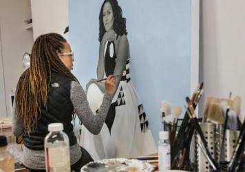 Amy Sherald, who painted the official portrait of Michelle Obama, appeared in the film <em>Black Art: In the Absence of Light.</em>