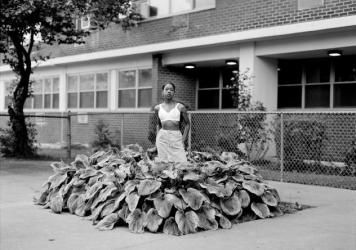 """Chanell Stone photographs places like overgrown lots and green spaces at public housing projects, often including herself in the frame. Above, """"In search of a certain Eden,"""" 2019, Brooklyn."""