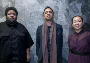 From left: Tyshawn Sorey, Vijay Iyer and Linda May Han Oh. The trio, Iyer's newest, collaborated on the album <em>Uneasy</em>.