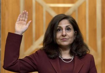 Neera Tanden, nominee for director of the Office of Management and Budget, is sworn in to testify during a Senate hearing.