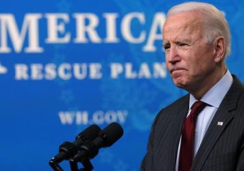 """President Biden challenged those who call his stimulus plan too big: """"Let me ask them a rhetorical question: What would you have me cut?"""""""