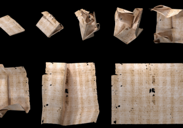 """Computer-generated unfolding sequence of sealed letter DB-1538. New research describes how """"virtual unfolding"""" was used to read the contents of sealed letter-packets from 17th-century Europe without physically opening them."""