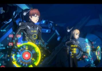 Taylor (voiced by Calum Worthy) and Hayley (voiced by Gideon Adlon) pilot a training Jaeger in the Netflix animated series <em>Pacific Rim: The Black</em>.
