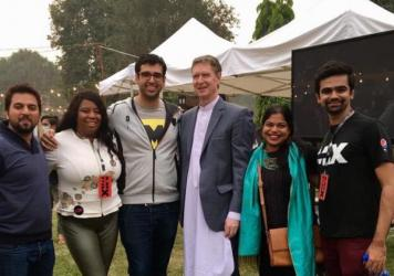 U.S. Consulate Lahore staff and participants including Maryum Saifee, second from right, in the ATX+PAK entrepreneurship program at the Mix festival in Lahore, Pakistan, an event inspired by Austin's SXSW events.