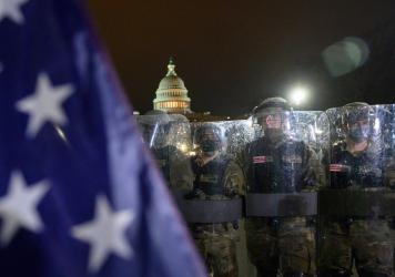 Members of the D.C. National Guard outside of the U.S. Capitol on Jan. 6, after Trump supporters stormed the building.