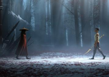 Raya (voiced by Kelly Marie Tran) faces off with her lifelong foe (voiced by Gemma Chan) in the rich, gorgeously wrought Disney film.