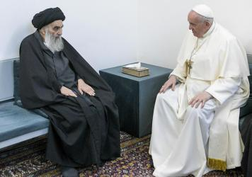 Pope Francis meets with Iraq's leading Shiite cleric, Grand Ayatollah Ali al-Sistani in the city of Najaf, Iraq, on March 6, 2021.