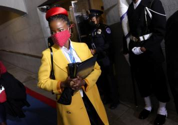 Former National Youth Poet Laureate Amanda Gorman arrives at the inauguration of US President-elect Joe Biden on the West Front of the US Capitol on Jan. 20 in Washington, D.C. Gorman says she was tailed Friday night by a security guard who said she look