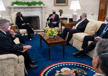 President Biden and Vice President Harris invited 10 labor leaders into the Oval Office in mid-February. Biden has pledged to be the most labor-friendly president ever.