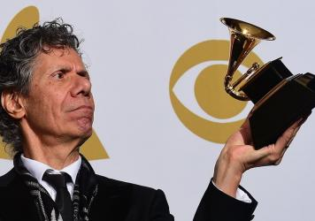 Chick Corea, holding a freshly won Grammy in the award ceremony's press room in LA on Feb. 8, 2015.