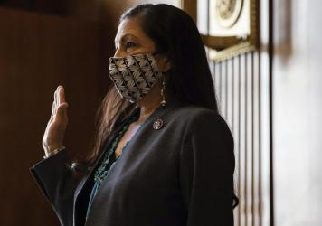 Rep. Deb Haaland D-N.M., sworn in during a Senate Committee hearing on Feb. 23 in Washington, D.C. She was confirmed as first Native American Interior Secretary on Mar. 15.