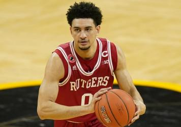 Rutgers guard Geo Baker, seen here last month, is one of the college basketball players leading a protest against the NCAA's rules preventing players from profiting from their own name, image and likeness.