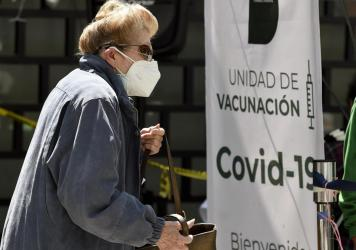A woman lines up to receive the AstraZeneca vaccine in Mexico City on Feb. 17.