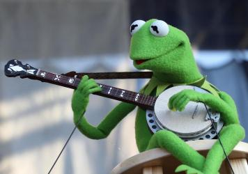 """Kermit the Frog performs during the 2019 Newport Folk Festival. """"The Rainbow Connection"""" is now part of the Library of Congress audio collection."""