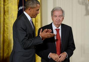 President Barack Obama presents novelist, essayist and screenwriter Larry McMurtry with the National Humanities Medal in September 2015.