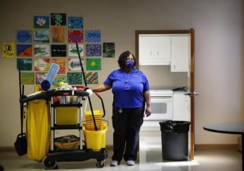 Lavonda Little has been a custodial worker at the University of Florida for more than 16 years.