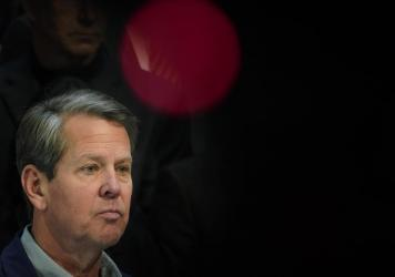 Georgia Gov. Brian Kemp, at a news conference at the state Capitol Saturday, slammed Major League Baseball's decision to pull the All-Star Game from Atlanta over the league's objection to a new voting law in the state.