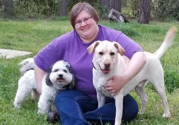Kristy Miller gets away from her home office in Charlotte, N.C., with her dogs, Oreo and Dabo.