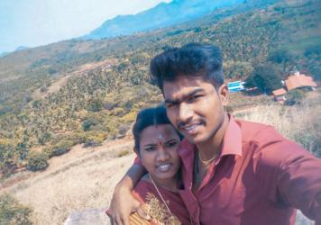 Ezhil Arasi (left) and Ranjith Kumar. The pandemic kept her from her pregnancy checkups. Their baby was born with an intestinal blockage that required surgery and died during the procedure. Doctors told Ranjith that if his wife had been examined regularl
