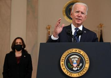 President Biden delivers remarks Tuesday on the guilty verdict against former police officer Derek Chauvin, as Vice President Harris looks on.