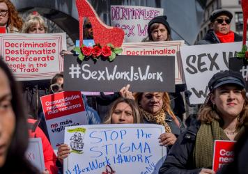 Protesters gather in New York City in February 2019 to advocate for the decriminalization of sex trades in the city and state. The Manhattan District Attorney's Office announced more than two years later it would stop prosecuting prostitution and seek th
