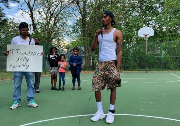 At a ballfield a few blocks from where Andrew Brown Jr., was killed by a sheriff's deputy, in Elizabeth City, N.C., Daquail Alexander organized a vigil and protest in Brown's memory.