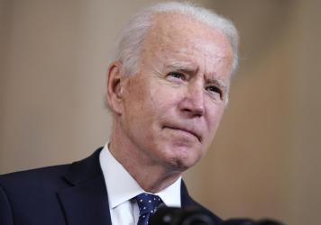 """President Biden speaks at the White House on April 20, 2021. """"The American people honor all those Armenians who perished in the genocide that began 106 years ago today,"""" he said in a statement Saturday."""