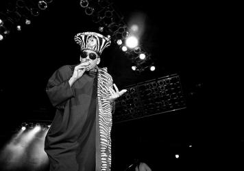 Digital Underground, led by Shock G, shown here in 1990, was one of the early rap groups to follow the example — in sound and energy — set by George Clinton and Parliament Funkadelic.