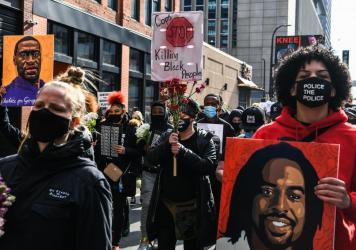 Demonstrators in Minneapolis ahead of the trial of former police officer Derek Chauvin, who has since been convicted of murdering George Floyd.