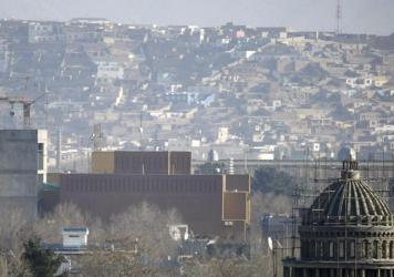 """A general view of the U.S. Embassy in Kabul in 2013. The State Department announced Tuesday """"the departure from U.S. Embassy Kabul of U.S. government employees whose functions can be performed elsewhere."""""""