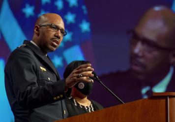 Washington, D.C., Police Chief Robert Contee addresses reporters in January. The police department has acknowledged that its computer network has been breached by attackers seeking a ransom. Such attacks against local governments, hospitals and corporati