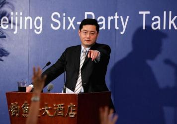 Qin Gang fields questions during a news conference around the Six-Party Talks on North Korea's nuclear program in Beijing in 2005. He served as spokesperson for the Chinese delegation.