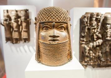 Benin Bronze artifacts on display in the Museum für Kunst und Gewerbe in Hamburg, Germany. An international consortium is working on repatriating artifacts which were looted in the late 19th century.