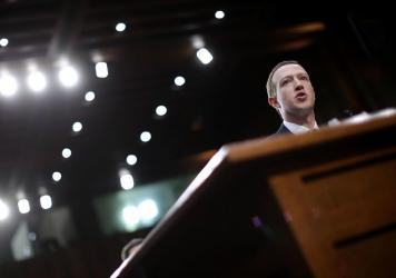 Facebook CEO Mark Zuckerberg testifies before a Senate panel in April 2018. On Wednesday, Facebook's independent Oversight Board is set to decide whether the company should keep its indefinite ban on former President Donald Trump.