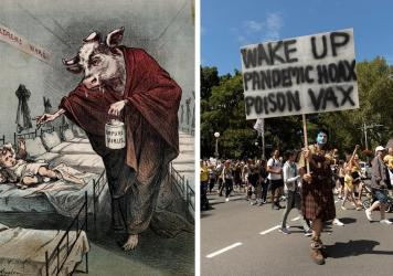 Left: A drawing of a human with a cow head holding a needle menacingly toward a child as he administers a tainted smallpox vaccination was meant to sow distrust of smallpox vaccines. Right: Protesters against COVID-19 vaccinations hold a rally in Sydney