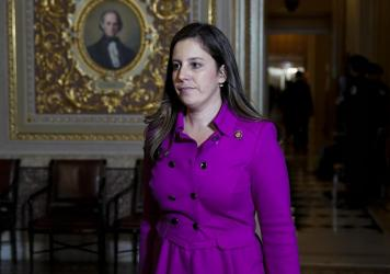New York Rep. Elise Stefanik, seen here at the U.S. Capitol during the impeachment trial of former President Donald Trump on Jan. 23, is poised to replace Rep. Liz Cheney as the No. 3 Republican in the House.