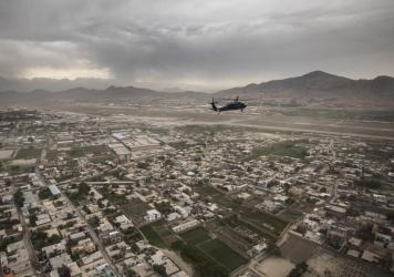 A Black Hawk helicopter of the U.S. Air Force flies over Kabul in April.