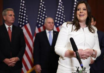 """Rep. Elise Stefanik, R-N.Y., speaks to reporters Friday after her election as House Republican Conference chair. Stefanik called former President Donald Trump """"a critical part of our Republican team."""""""