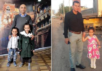 Left: Anwar Alsaeedi stands with his children, Nada, 9, and Mazeen, 6, in the Yemeni capital Sanaa. Right: Hatem al-Showaiter with his daughter in Djibouti, when his daughter was three and half years old. She is now aged seven and half.