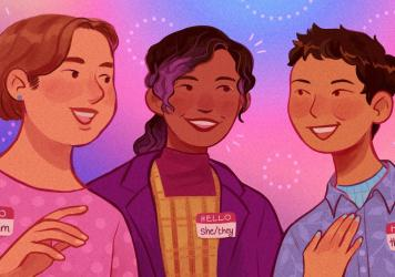 """""""Pronouns are basically how we identify ourselves apart from our name. It's how someone refers to you in conversation,"""" says Mary Emily O'Hara, a communications officer at GLAAD. """"And when you're speaking to people, it's a really simple way to affirm the"""