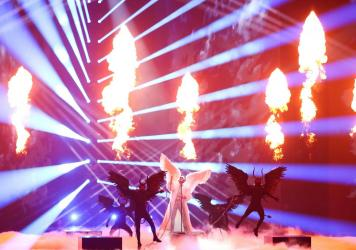 Norway's TIX (Andreas Haukeland) performs during the Eurovision Song Contest dress rehearsal in Rotterdam, Netherlands.
