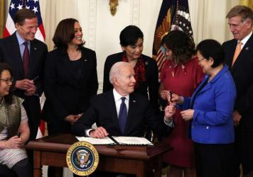 The White House has held a couple bigger events this week following new guidance that fully vaccinated individuals don't need to wear masks or social distance. One such event was the signing of the Hate Crimes Act on Thursday.