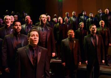 Members of the Turtle Creek Chorale, a Dallas men's choir, perform Tyler's Suite at the Dallas City Performance Hall on March 31, 2016.