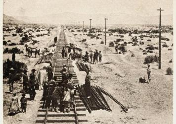 Alfred A. Hart photograph of Chinese Central Pacific construction crews along the Humboldt Plains in