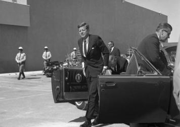 President John F. Kennedy arrives at the Las Vegas Convention Center, September 28, 1963.