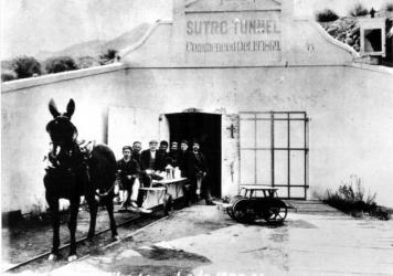 The entrance to the Sutro Tunnel in the late 1800s.