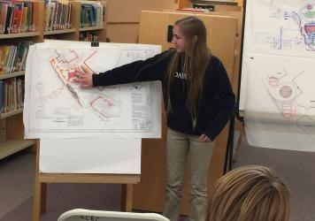 Bright green: Dawson student Kayla Salehian presents her ideas for the center to designers.